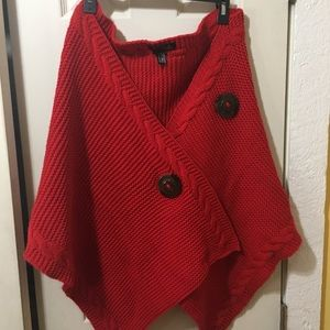 Red sweater wrap